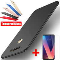 Matte Slim Hard Case Cover For LG V30 V20 G6 G5 G7 Q6 K10 2018 + Tempered Glass