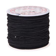 1 rotolo 24m lungo filo di perline nero rotondo elastico 1 millimetro C9P9 A4S5