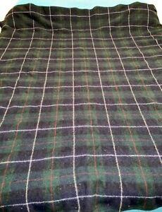 RALPH LAUREN 68x77 Wool Twin Size Bed Blanket Cabin Camping Plaid Tartan Defect