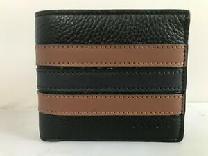 NWT Coach Men's 3-In-1 Leather Wallet PCD Varsity Stripe Black Saddle Midnight