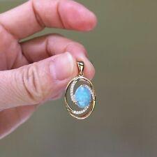 Gorgeous colorful 4.35ctSolid Australia Opal 9K Gold Pendant W/0.195cts Diamond