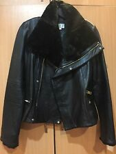 NWT Badgley Mischka Samara Shearling Trim Leather Biker Motorcycle Jacket Coat M
