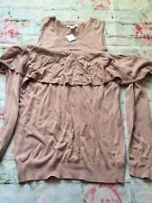 Motherhood Maternity Sweater Shirt Top Pink Ruffle Cold Shoulder XL New Nwt