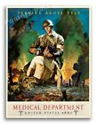 """1942 US Army Medical Dept """"Service Above Self"""" Vintage Army Medical Poster 18x24"""