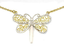 10k Yellow and White Gold Butterfly Pendant and Chain Necklace, (NEW, 4.3g) 3017