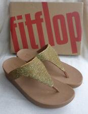 Fitflop Lottie Glitzy Artizan Gold Toe Post Sandals Shimmer Ladies Box Size 7