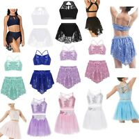 Girls Lyrical Ballet Dress Latin Bra Tops+Sequin Tutu Skirt Modern Dance Costume