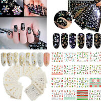 Christmas Nail Art Water Decals Transfers Snowflakes Snowman Stars Gel Polish