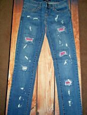 ABBEY DAWN BLUE DISTRESSED JEANS WOMENS SIZE 3