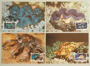 MARSHALL ISLANDS 1986 WWF,  Cpl Maxi Card Set, Animal Sea Shells Crabs Marine