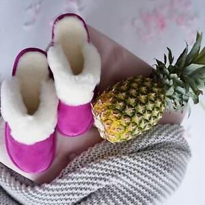 Hollert Ladies Lambskin Slippers Malibu Pink Slippers Real Leather Sheepskin