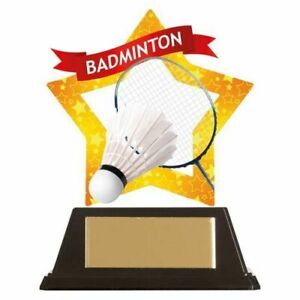 Badminton Mini Star Trophy Award 10 cm  with FREE Engraving up to 30 letters