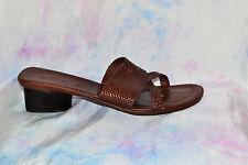 RALPH LAUREN 8B Vintage SHARI Tan Leather Slip on Sandal Hand Woven Vtg *GENUINE