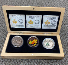 2014 Majestic Maple Leaf RCM 3 Coin Set with Colour & Jade - Pure .9999 Silver