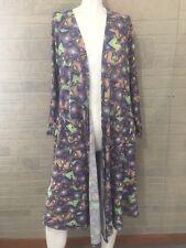 Lularoe Sarah Purple Patterned Long Cardigan with Pockets Sz Small