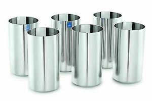 Stainless Steel Glass Long, 500 ml, Silver, Set of 6 Glasses