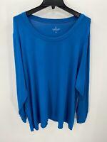 Cuddl Duds Loungewear Womens Plus Size 3X Crew Neck Blue Long Sleeve Top