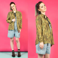 WOMENS VINTAGE 90'S LEOPARD PRINT OVERSIZE GRUNGE NINETIES SHIRT BLOUSE 10