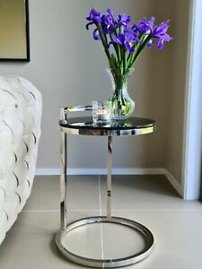 Azda Pollished Stainless Steel Side Table W/ White Glass Top(Price Reduced)