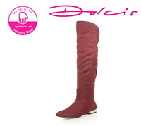 BRITISH FOOTWEAR LADIES BURGUNDY MEMORY FOAM OVER THE KNEE FLAT RIDING BOOTS