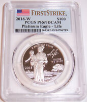 2018-W $100 PCGS PR69DCAM First Strike Life Platinum Proof Liberty Eagle!!