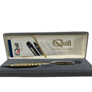 """Quill USA Womens Mens Pen With Case Classic Gold Tone Slim 5"""""""