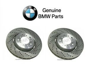 For BMW E46 M3 01-06 Pair Set of 2 Front Vented Cross Drilled Brake Rotors OES