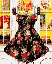 Betsey Johnson RARE Dress FLORAL ROSE Chiffon Silk FIT & FLARE Black SKATER 0 XS