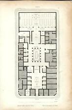 Stampa antica POMPEI Pianta della Casa di Pansa Napoli 1834 Old print Engraving