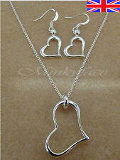 """Silver 925 Sterling Heart Necklace 18"""" and Earrings Jewellery Set Free Gift Bag"""