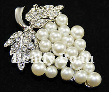 UVA VINE Pearl & Crystal Diamante SPILLA TIARA rendendo Stile Vintage Bouquet