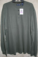 NEW Chaps long sleeve Knit Henley 3 Button shirt Olive Green XXL mens soft