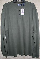 NEW Chaps long sleeve Knit Henley 3 Button shirt Olive Green XXL mens soft