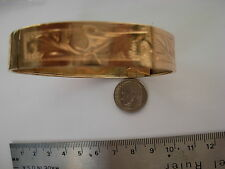 14 k solid gold bracellet 13mm wide   with engraving  stamped  PRICED TO SELL