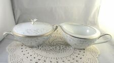 Vintage Noritake China Japan GLENNIS Cream & Sugar w/ Lid Grey Scroll Ex. Cond