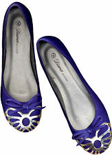 NWOB; ULTRAMARINE BLUE SUEDE BALLET FLAT SHOES_ W/ METALLIC TONE ACCENT_S36/ 37