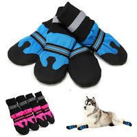4PCS Waterproof Anti-slip Pet Dog Shoes Boots Booties For Snow Winter Reflective