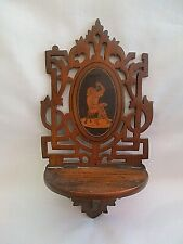 Stunning Small Antique /Vintage Carved Wooden Wall Hanger With Lovely Wood Inlay