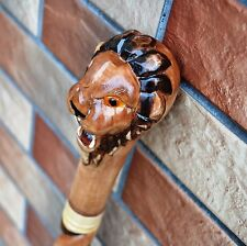LION Cane Walking Stick Wooden Handmade Wood Carving Exclusive Gift_