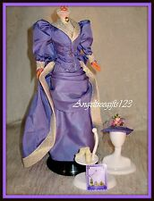 Beautiful purple Victorian era Barbie gown fits model muse silkstone barbie