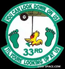 USAF 33rd RESCUE SQUADRON -LOOK DOWN ON US- COMBAT RESCUE SAR PJ -ORIGINAL PATCH