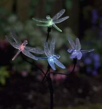 Solar Power LED Garden Light 4 Dragonflies Lights on Stake 73 cm High