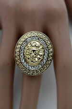 Women Gold Metal Oval Ring Fashion Jewelry Lion Head One Size Silver Rhinestones