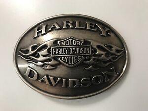 Harley-Davidson men's Bar&Shield w/flames belt buckle.#97809-11VM.Antique nickel