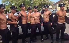 Shirtless Male Beefcake Muscular Cops Stripping Hunks Group Shot PHOTO 4X6 C231
