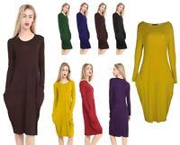 Womens Legenlook Pocket Baggy Midi Dress Ladies Italian Drape Long Sleeve Pocket