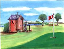 Outhouse Golf Art Print Clubs Golfer Clubhouse Course Cart  Links PGA Bathroom