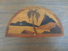 Vintage Inlaid Wood Turning Toothpick Matchstick Cigarette Wooden Match Holder