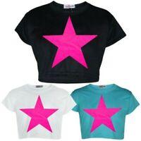 Enfants Filles Haut Court Créateur Étoile Élégant Imprimé Mode T Shirt 5-13 Ans