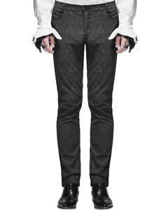 Devil Fashion Mens Trousers Pants Black Brocade Gothic Steampunk VTG Aristocrat